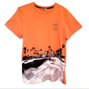 "Boy's H&M Orange ""Time To Ride"" Short Sleeve Tee"